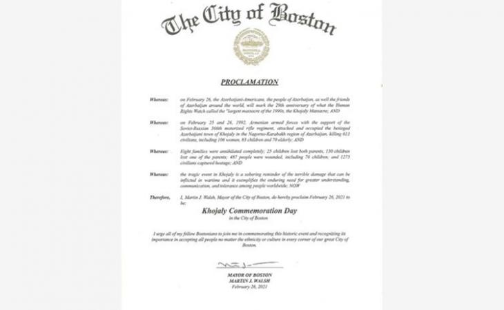 Boston şəhər meri 26 fevralı Xocalı soyqırımının anım günü elan edib